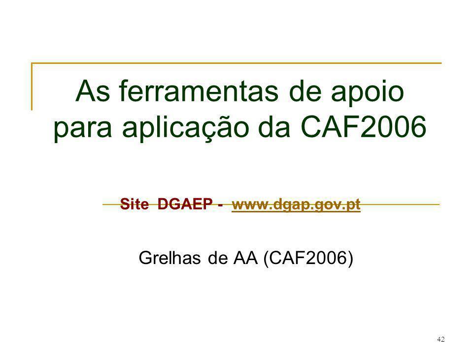 As ferramentas de apoio para aplicação da CAF2006 Site DGAEP - www