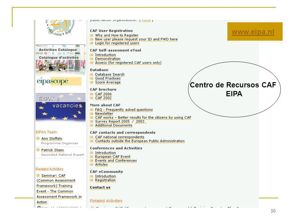 www.eipa.nl Centro de Recursos CAF EIPA