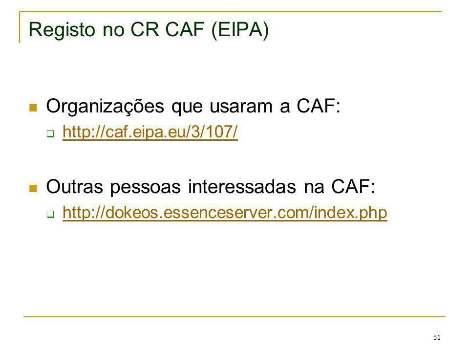 Registo no CR CAF (EIPA)