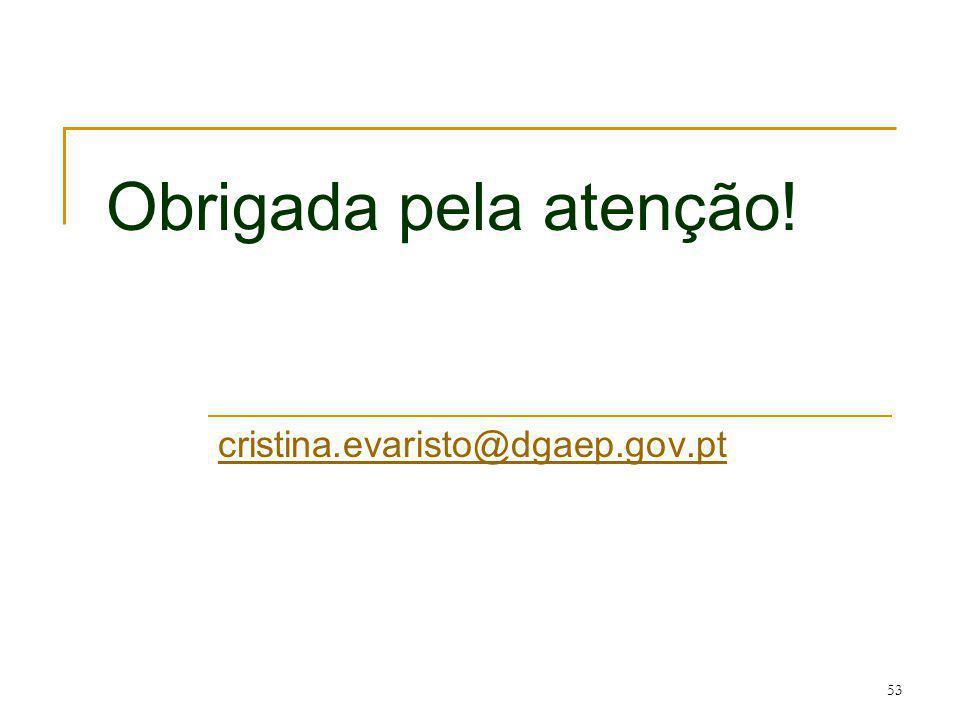 Obrigada pela atenção! cristina.evaristo@dgaep.gov.pt