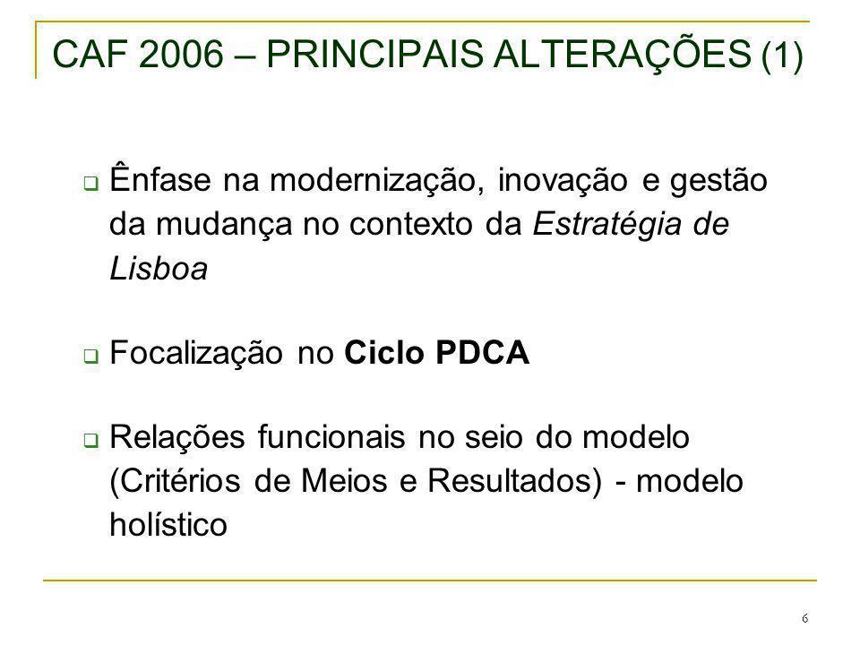 CAF 2006 – PRINCIPAIS ALTERAÇÕES (1)