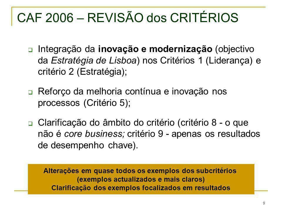 CAF 2006 – REVISÃO dos CRITÉRIOS