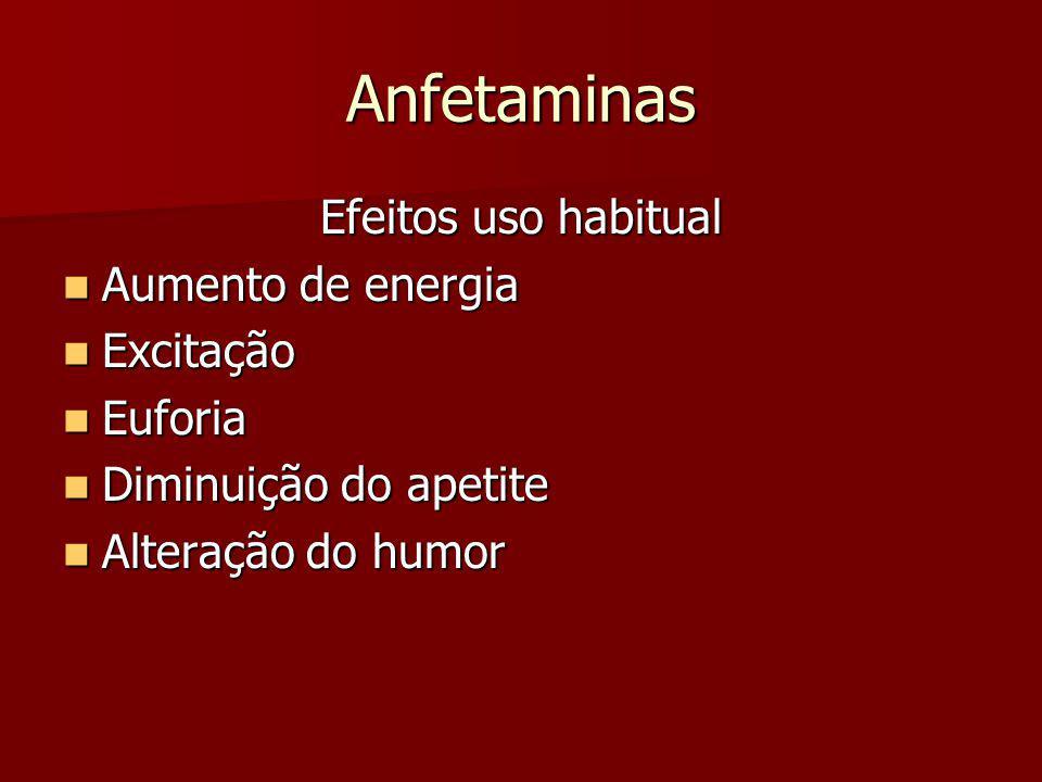 Anfetaminas Efeitos uso habitual Aumento de energia Excitação Euforia