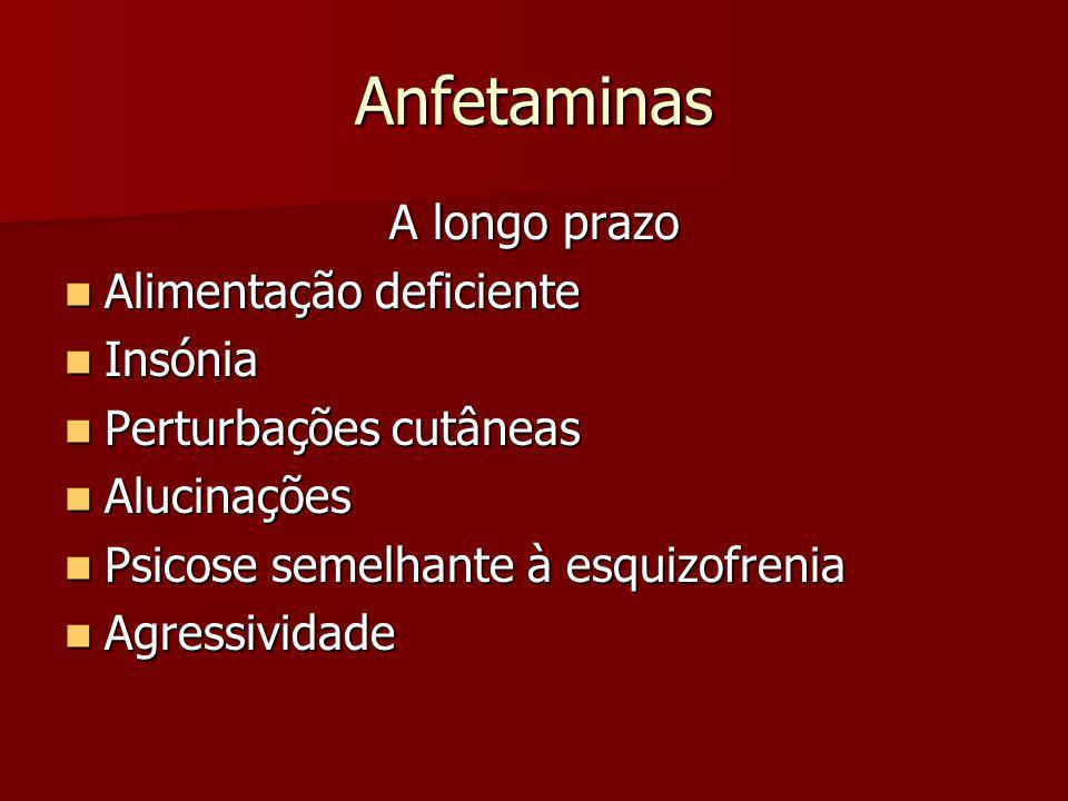 Anfetaminas A longo prazo Alimentação deficiente Insónia