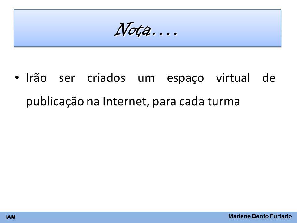 Nota…. Irão ser criados um espaço virtual de publicação na Internet, para cada turma.