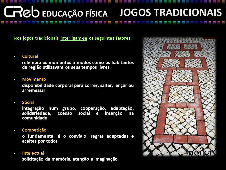 JOGOS TRADICIONAIS Nos jogos tradicionais interligam-se os seguintes fatores: Cultural.