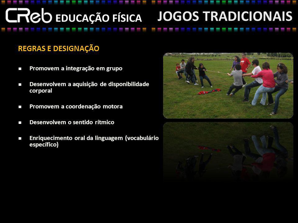 JOGOS TRADICIONAIS REGRAS E DESIGNAÇÃO Promovem a integração em grupo