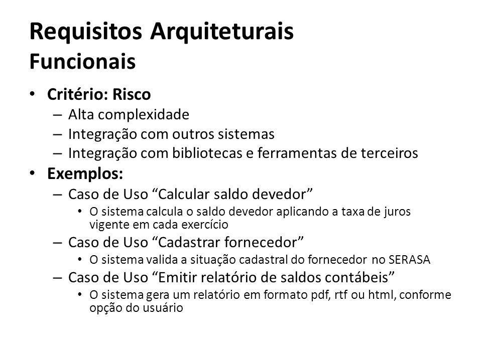 Requisitos Arquiteturais Funcionais