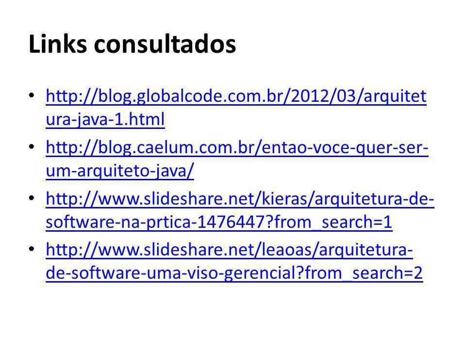 Links consultados http://blog.globalcode.com.br/2012/03/arquitetura-java-1.html. http://blog.caelum.com.br/entao-voce-quer-ser-um-arquiteto-java/