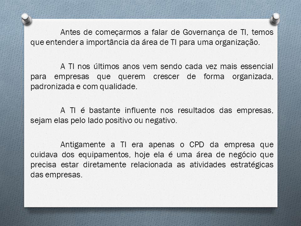 Antes de começarmos a falar de Governança de TI, temos que entender a importância da área de TI para uma organização.
