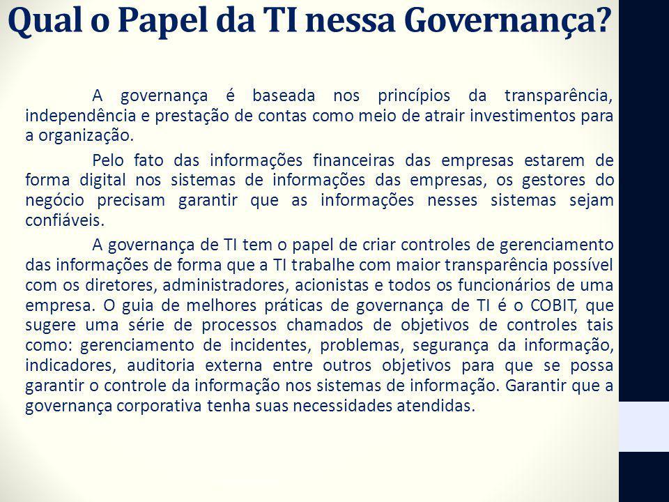 Qual o Papel da TI nessa Governança