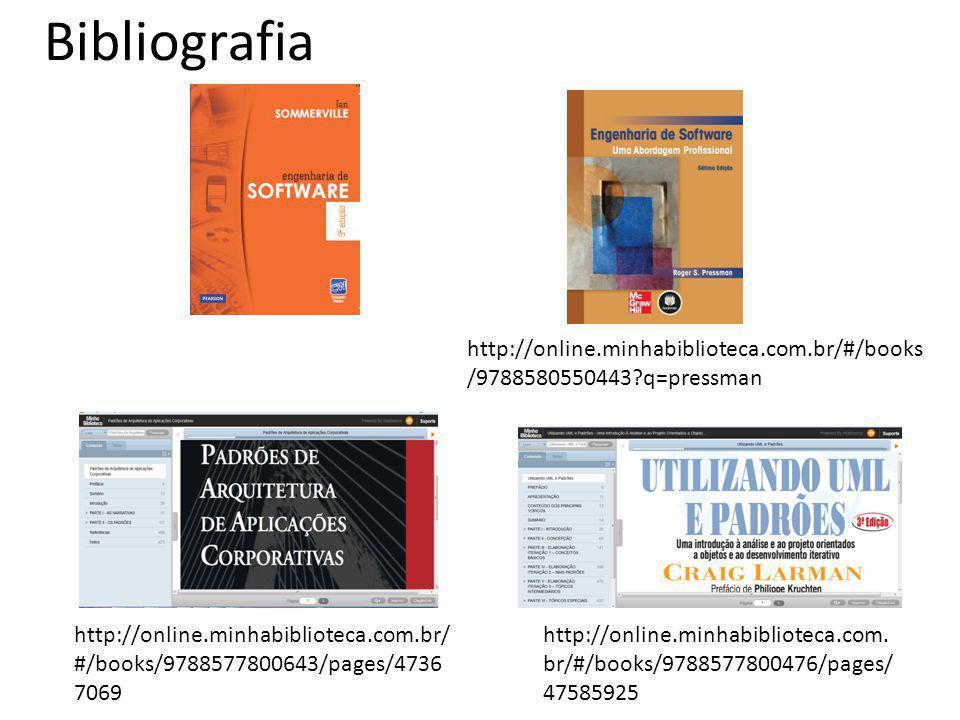 Bibliografia http://online.minhabiblioteca.com.br/#/books/9788580550443 q=pressman.