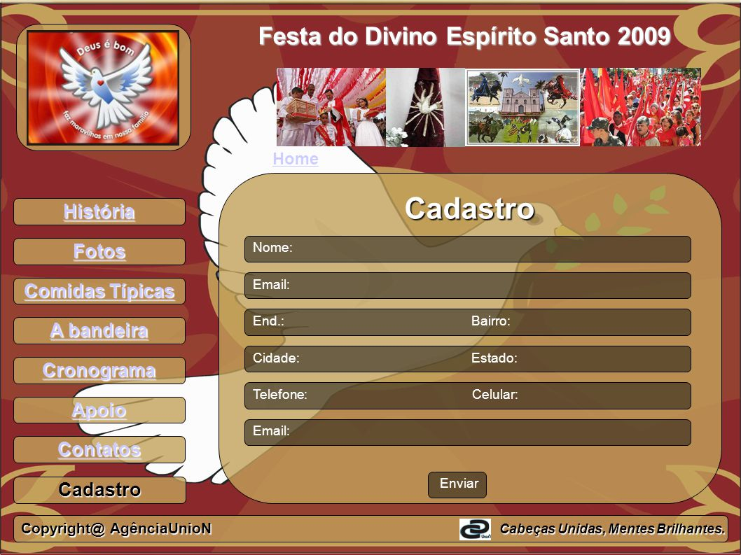 Cadastro Festa do Divino Espírito Santo 2009 História Fotos