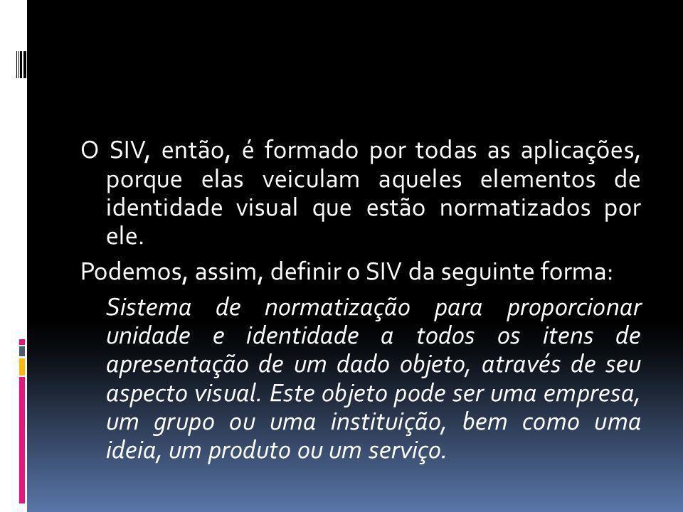 O SIV, então, é formado por todas as aplicações, porque elas veiculam aqueles elementos de identidade visual que estão normatizados por ele.