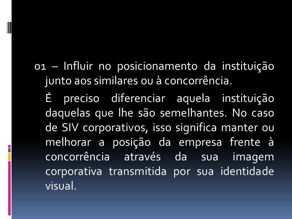 01 – Influir no posicionamento da instituição junto aos similares ou à concorrência.