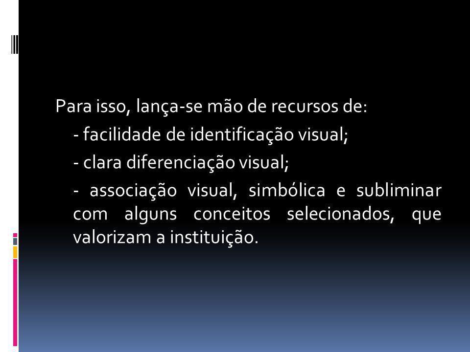 Para isso, lança-se mão de recursos de: - facilidade de identificação visual; - clara diferenciação visual; - associação visual, simbólica e subliminar com alguns conceitos selecionados, que valorizam a instituição.