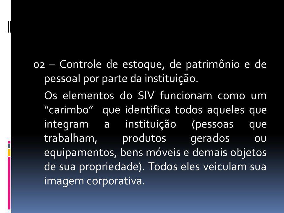 02 – Controle de estoque, de patrimônio e de pessoal por parte da instituição.