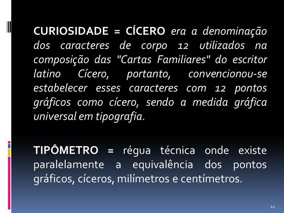 CURIOSIDADE = CÍCERO era a denominação dos caracteres de corpo 12 utilizados na composição das Cartas Familiares do escritor latino Cícero, portanto, convencionou-se estabelecer esses caracteres com 12 pontos gráficos como cícero, sendo a medida gráfica universal em tipografia.