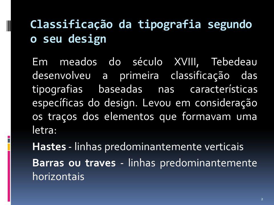 Classificação da tipografia segundo o seu design