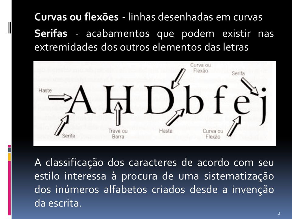 Curvas ou flexões - linhas desenhadas em curvas Serifas - acabamentos que podem existir nas extremidades dos outros elementos das letras A classificação dos caracteres de acordo com seu estilo interessa à procura de uma sistematização dos inúmeros alfabetos criados desde a invenção da escrita.