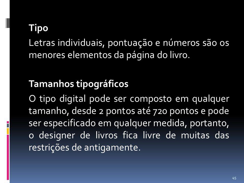 Tipo Letras individuais, pontuação e números são os menores elementos da página do livro.