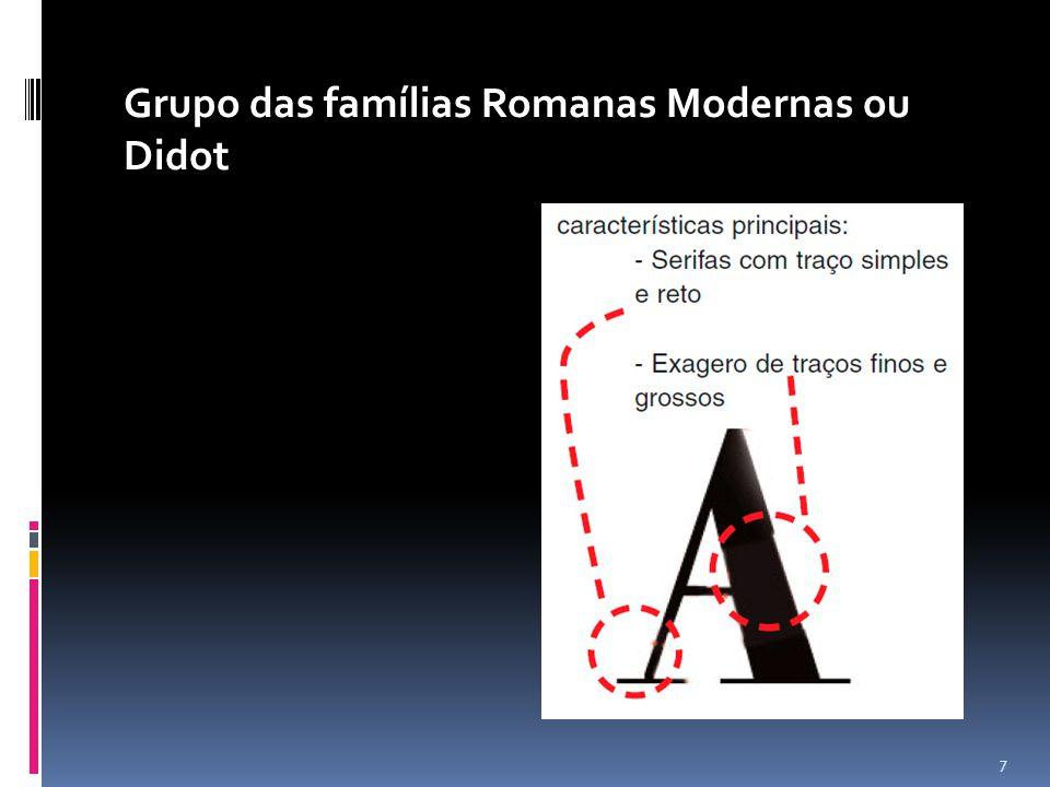 Grupo das famílias Romanas Modernas ou Didot
