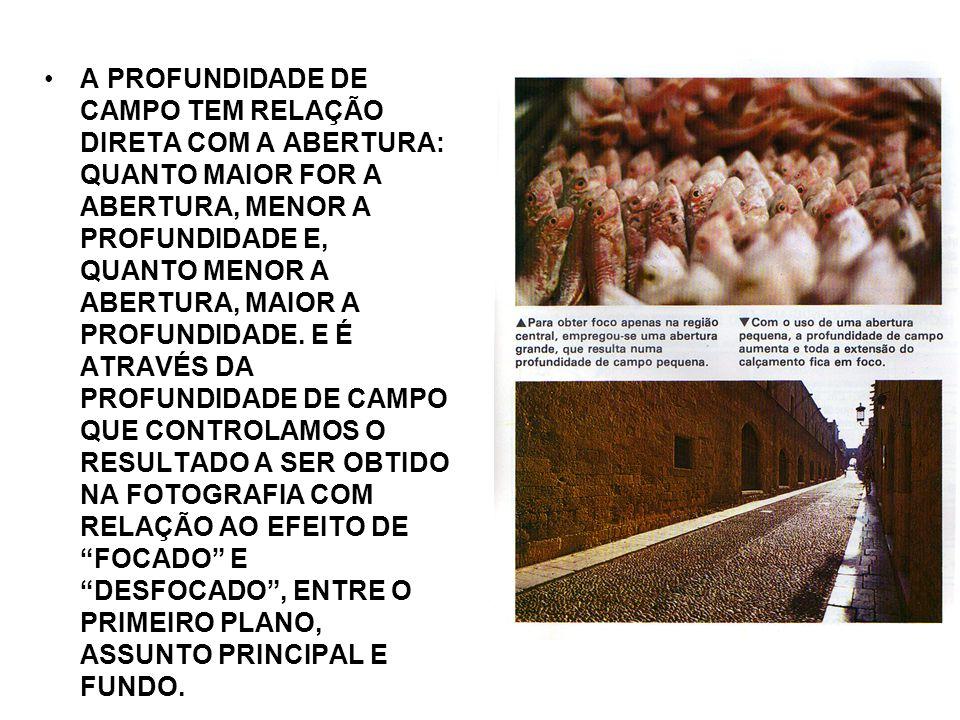 A PROFUNDIDADE DE CAMPO TEM RELAÇÃO DIRETA COM A ABERTURA: QUANTO MAIOR FOR A ABERTURA, MENOR A PROFUNDIDADE E, QUANTO MENOR A ABERTURA, MAIOR A PROFUNDIDADE.