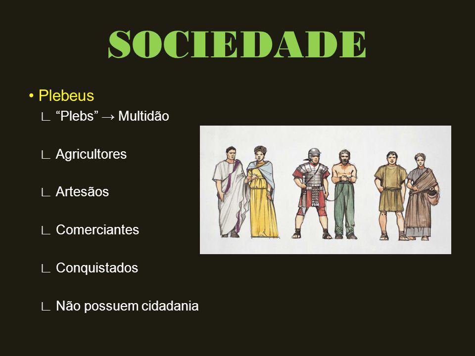 SOCIEDADE • Plebeus ∟ Plebs → Multidão ∟ Agricultores ∟ Artesãos