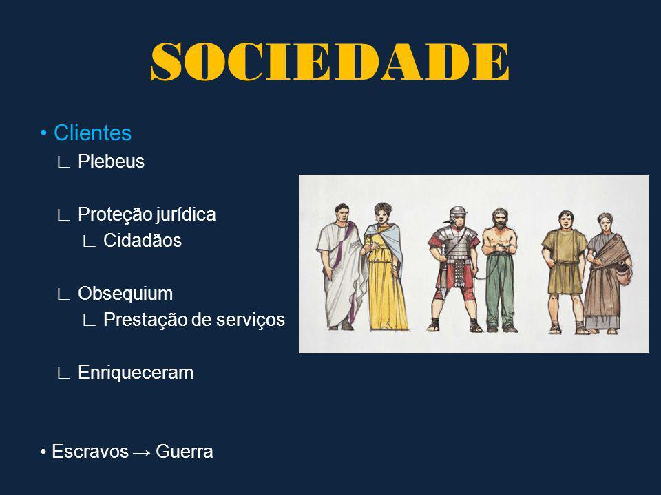 SOCIEDADE • Clientes ∟ Plebeus ∟ Proteção jurídica ∟ Cidadãos