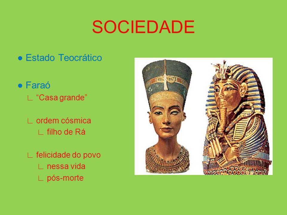 SOCIEDADE ● Estado Teocrático ● Faraó ∟ Casa grande ∟ ordem cósmica