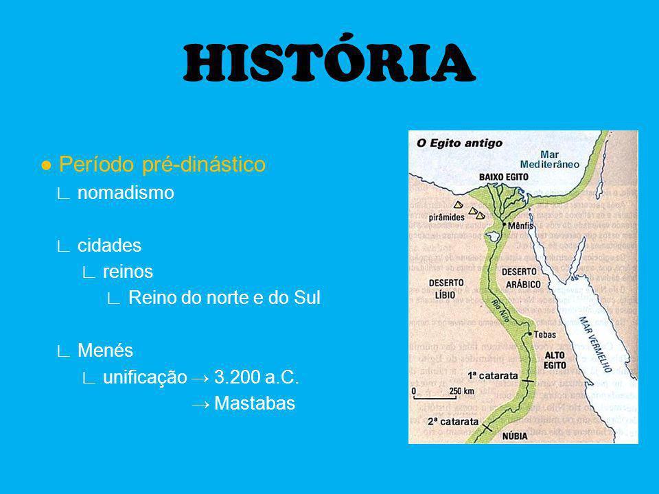 HISTÓRIA ● Período pré-dinástico ∟ nomadismo ∟ cidades ∟ reinos