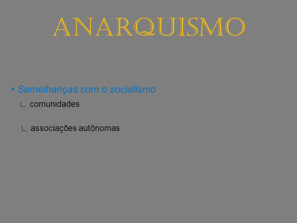 ANARQUISMO • Semelhanças com o socialismo ∟ comunidades