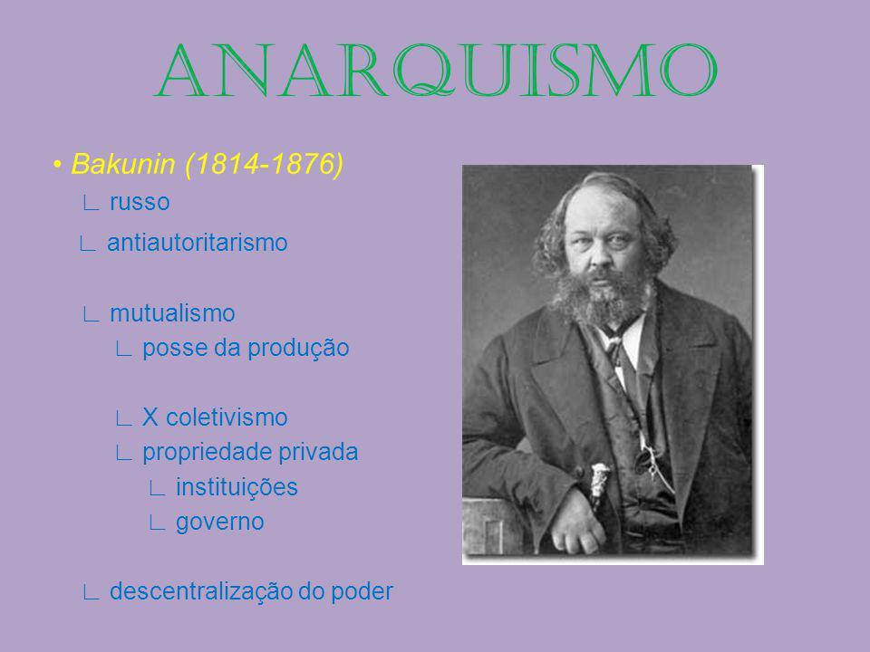 ANARQUISMO • Bakunin (1814-1876) ∟ antiautoritarismo ∟ russo