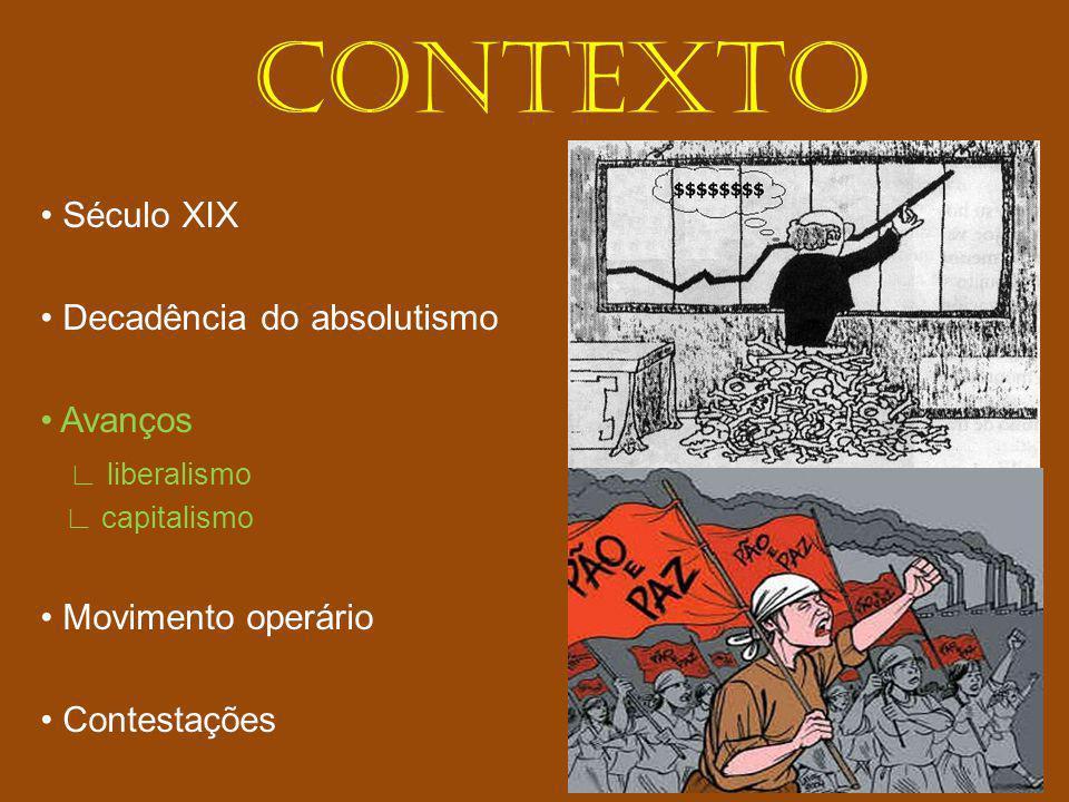 CONTEXTO • Século XIX • Decadência do absolutismo • Avanços