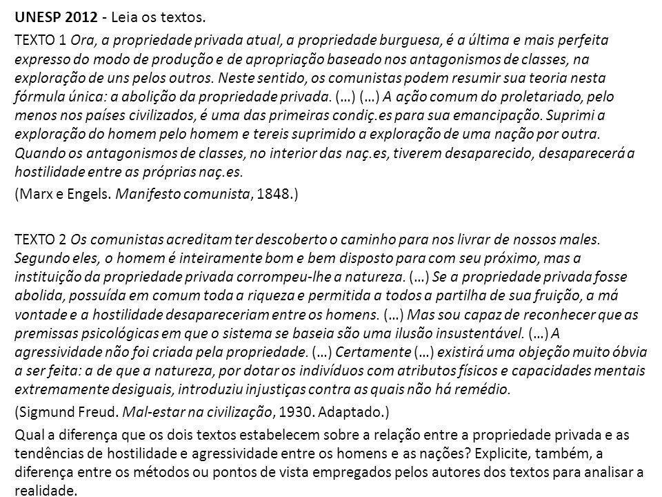 UNESP 2012 - Leia os textos.