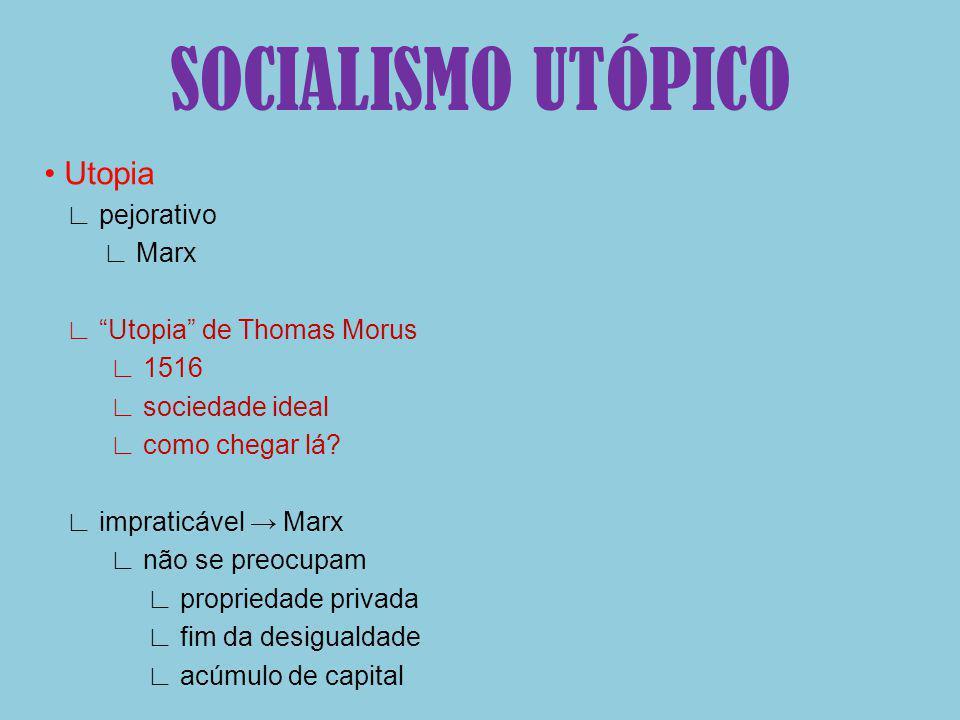 SOCIALISMO UTÓPICO • Utopia ∟ pejorativo ∟ Marx