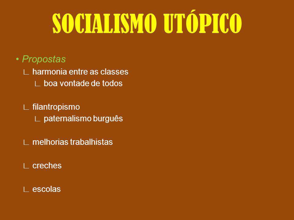SOCIALISMO UTÓPICO • Propostas ∟ harmonia entre as classes