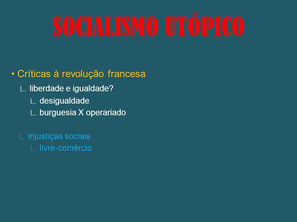 SOCIALISMO UTÓPICO • Críticas à revolução francesa