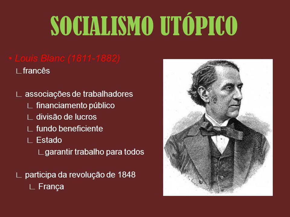 SOCIALISMO UTÓPICO • Louis Blanc (1811-1882) ∟francês