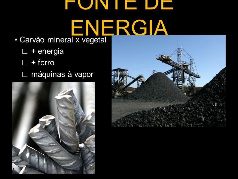 FONTE DE ENERGIA • Carvão mineral x vegetal ∟ + energia ∟ + ferro ∟ máquinas à vapor
