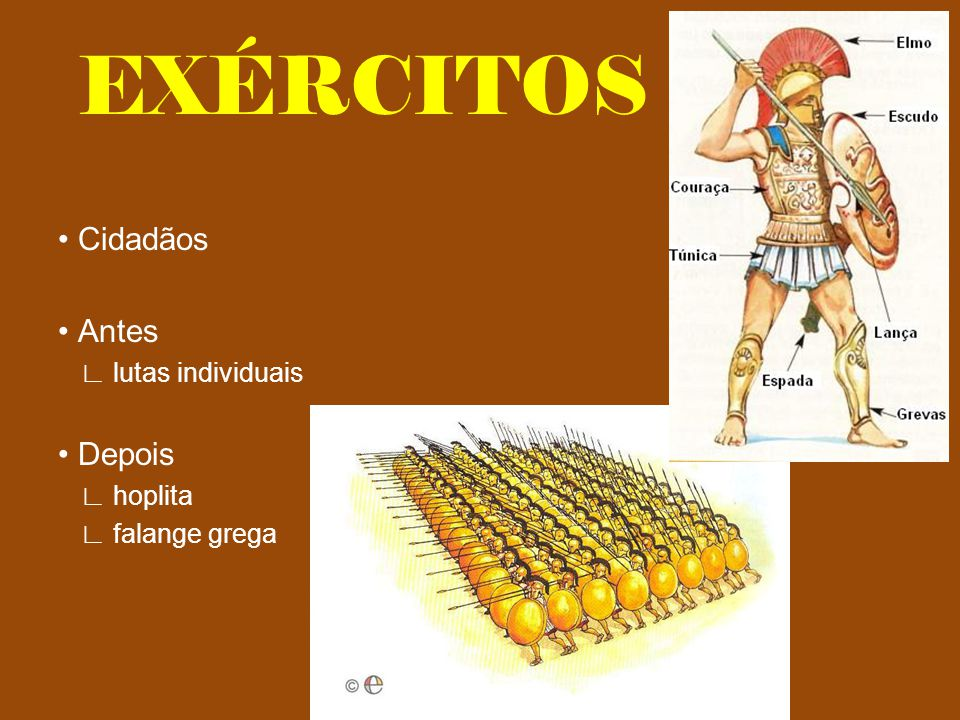 EXÉRCITOS • Cidadãos • Antes • Depois ∟ lutas individuais ∟ hoplita