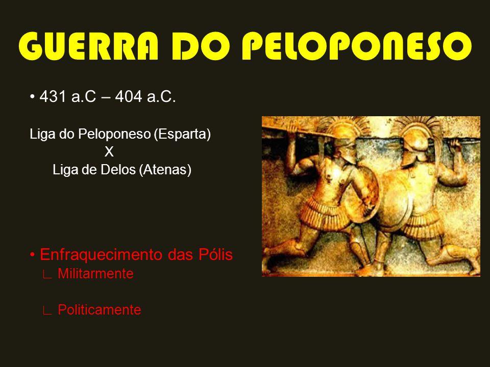 GUERRA DO PELOPONESO • 431 a.C – 404 a.C. • Enfraquecimento das Pólis