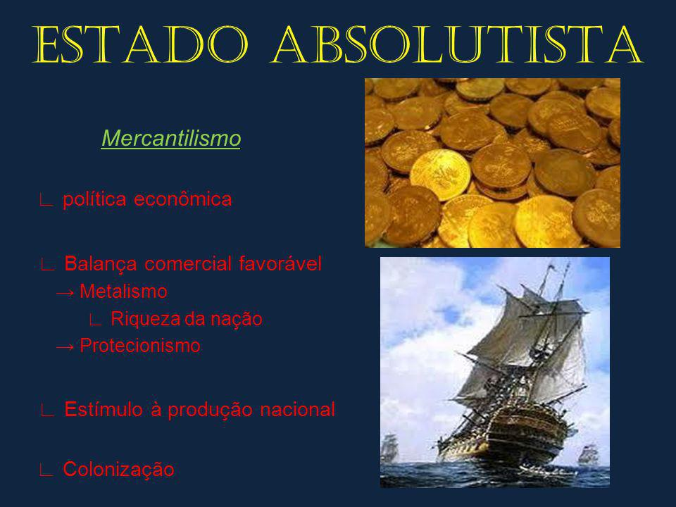 ESTADO ABSOLUTISTA Mercantilismo ∟ Balança comercial favorável