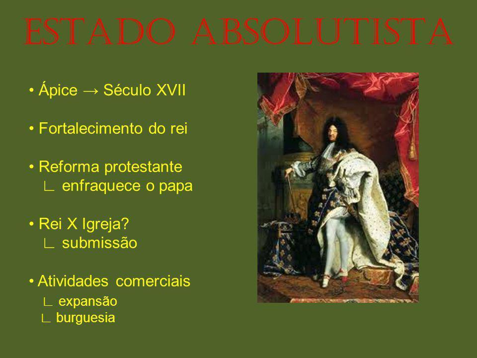 ESTADO ABSOLUTISTA • Ápice → Século XVII • Fortalecimento do rei