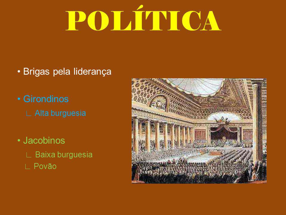 POLÍTICA • Brigas pela liderança • Girondinos ∟ Alta burguesia