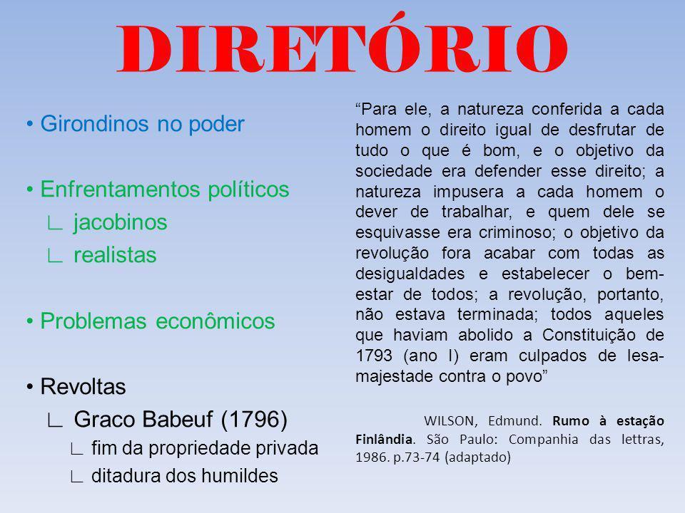 DIRETÓRIO • Girondinos no poder • Enfrentamentos políticos ∟ jacobinos
