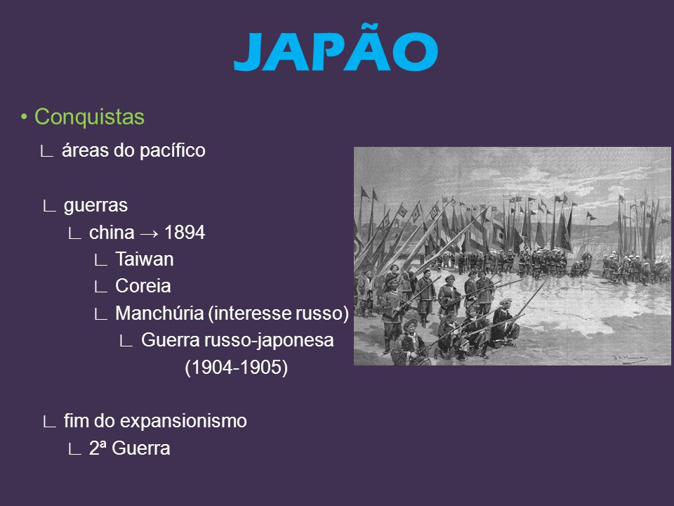 JAPÃO • Conquistas ∟ áreas do pacífico ∟ guerras ∟ china → 1894