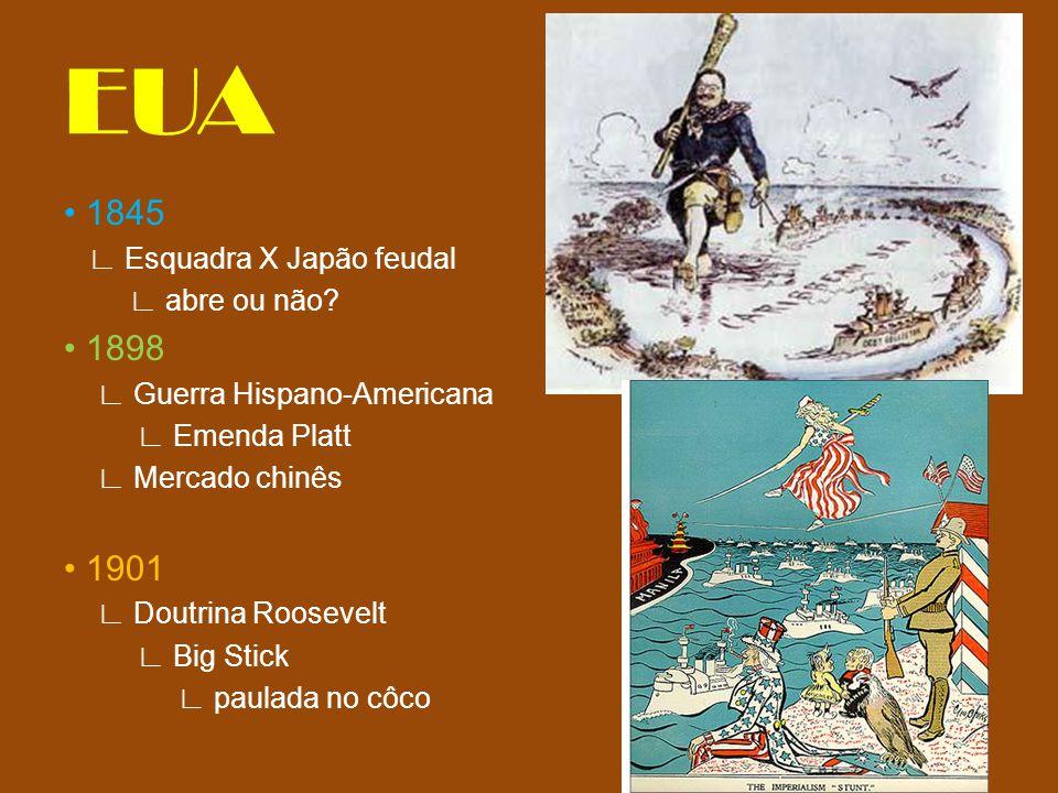 EUA • 1845 • 1898 • 1901 ∟ Esquadra X Japão feudal ∟ abre ou não