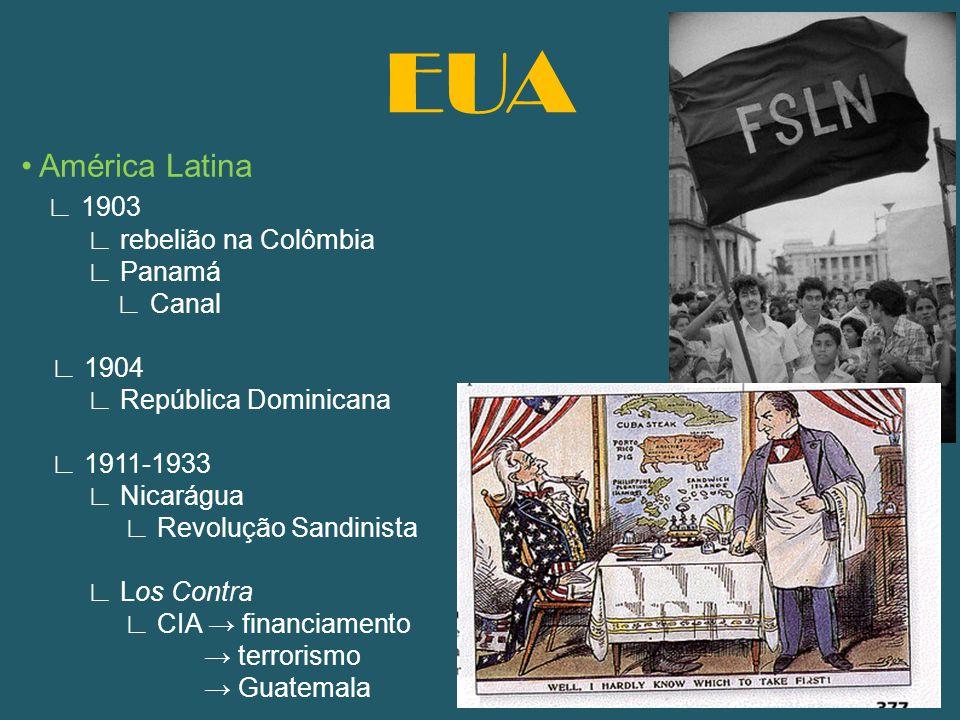 EUA • América Latina ∟ 1903 ∟ rebelião na Colômbia ∟ Panamá ∟ Canal