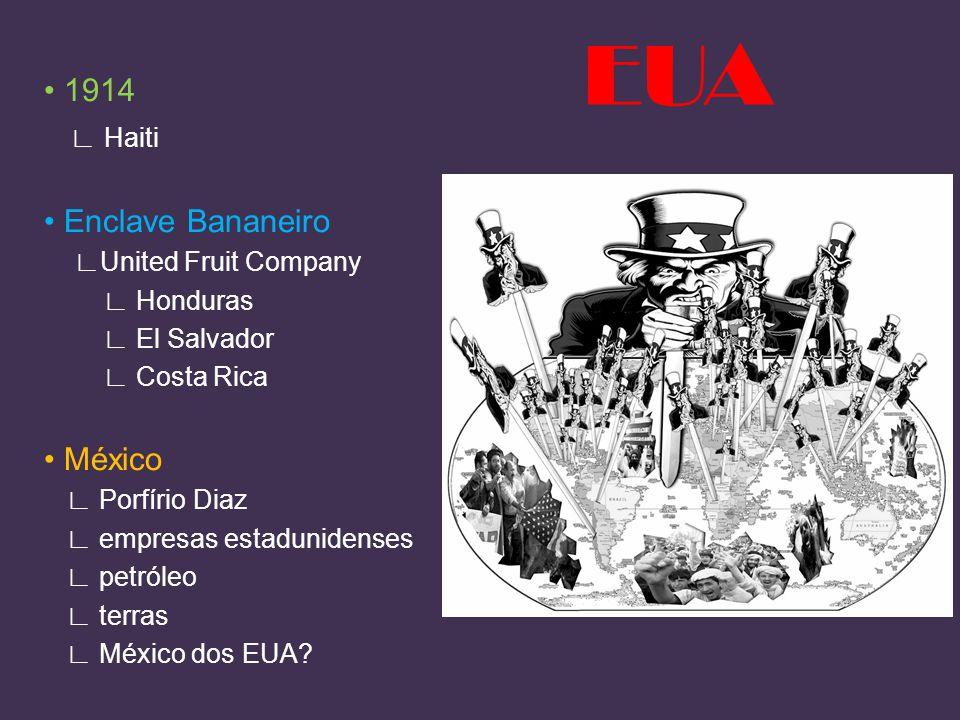 EUA • 1914 ∟ Haiti • Enclave Bananeiro • México ∟United Fruit Company